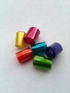 Beads made from 2 liter plastic bottles.