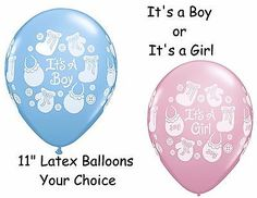 Its A Boy or Its A Girl Buttons & Bows Latex Balloons Baby Shower Decor 10p