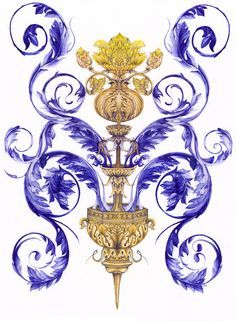 Baroque Pattern, Fountain Pen, Rooster, Ornaments, Digital, Paper, Flowers, Painting, Painting Art