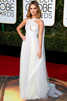 Golden Globes 2016: The Best, Most Beautiful Dresses From the Big Night! | People - Lily James in a white Marchesa goddess dress