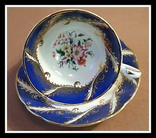 GORGEOUS PARAGON BLUE SWIRL CUP & SAUCER WITH FLOWER BOUQUET