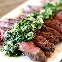 Grilled Skirt Steak with Cilantro Chimichurri