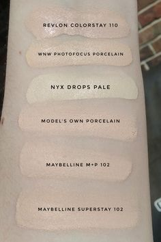 Foundation Swatches - Lightest at the drugstore Goth Makeup, Skin Makeup, Beauty Makeup, Hair Beauty, Makeup Swatches, Dupes, Revlon, Maybelline, Hair And Nails