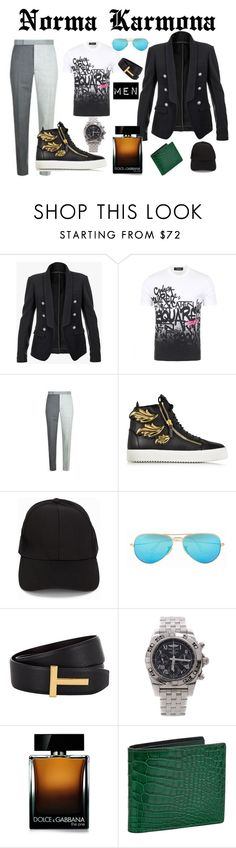 """""""Norma Karmona"""" by normacarmona on Polyvore featuring Balmain, Dsquared2, Thom Browne, Giuseppe Zanotti, Tiger of Sweden, Ray-Ban, Tom Ford, Breitling, Dolce&Gabbana y men's fashion"""