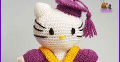 Patrones en español / English patterns y videotutoriales para hacer amigurumis y labores a ganchillo Crochet Hats, Cats, Fictional Characters, Hello Kitty Stuff, Amigurumi Doll, Amigurumi Patterns, Hello Kitty Crochet, Knitting Hats, Gatos