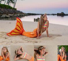 Gorgeous mermaid in Destiny's Trpoical Sunrise mermaid tail from Fin Fun.  Oahu sunrise session, mermaid, sunrise, hawaii mermaid, sea shells, mermaid crown, natural beauty, splish splash, fun fin mermaid tail, birthday session, hawaii, children photography, hawaii, tween