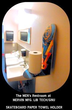 Mervin LIB TECH/ GNU snowboard Mens Restroom. skateboard paper towel holder. Hand Crafted U.S.A
