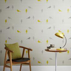 John Lewis wallpaper Bird on a wire yellow grey