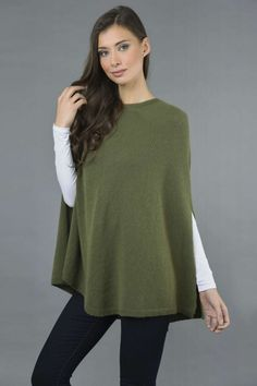 Pure Cashmere Plain Knitted Poncho Cape in Loden Green front 1 Cashmere Poncho, Knitted Poncho, Cashmere Wool, Slouchy Beanie, Got The Look, Stay Warm, One Size Fits All, Cape, Scarves