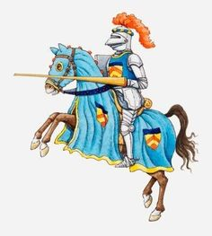 """Illustration of Medieval Knight on Horseback - 48""""H x 43""""W - Peel and Stick Wall Decal by Wallmonkeys by Wallmonkeys Wall Decals, http://www.amazon.com/dp/B00CK56LW4/ref=cm_sw_r_pi_dp_0SEssb113H8JR"""