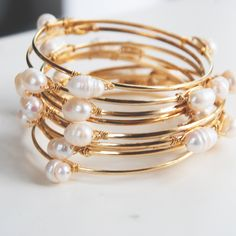 Fancy - Annuals Gold And Pearls Bangles