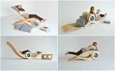 Exocet, представляет собой металлический цилиндр-основу, на который нанизаны свободно вращающиеся деревянные планки-ребра. Таким его создал дизайнер из Монреаля Стефан Лейтхэд, наделив концепт способностью раскладываться и переворачиваться в зависимости от ситуации.