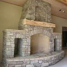 fireplace with built in wood storage niches and rough hewn mantle - Today Pin Cabin Fireplace, Home Fireplace, Rustic Stone, House Exterior, Rustic Fireplaces, Stone Fireplace, Fireplace Design, Wood Stove Fireplace, Fireplace Built Ins