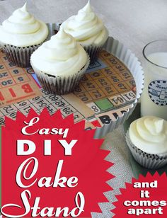 Learn how to make a DIY cake stand from thrift store materials and basic hardware. You can also easily disassemble this one to store it!