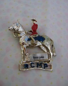 Royal Canadian Mounted police brooch  Rice Lake  by fowlpleasures, $5.00