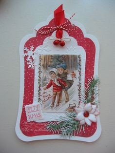 Paper and Fabrics. Christmas Tag, Xmas, Christmas Ornaments, Diy And Crafts, Paper Crafts, 3d Cards, Diy Gifts, Gift Tags, Embellishments