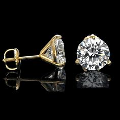 416e2d66d19 2 Ct Round Cut Solitaire Diamond Screwback Stud Earrings In 14k Yellow Gold  Over  HouseOfKanak
