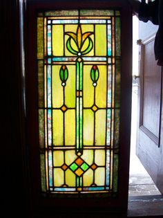 Blooming flower w/ jewles stained glass window GREENS