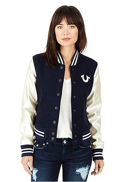 CLASSIC HORSESHOE VARSITY WOMENS JACKET - True Religion Last Stitch, Free Clothes, Jean Outfits, True Religion, Vintage Looks, Jackets For Women, Jeans, Classic, Shopping