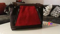 Sac Java liège noir et suédine rouge cousu par CM Créations - Patron Sacôtin