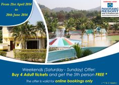Buy 4 Adult tickets and get the 5th person free. (T&C Apply) #Offer #KarnalaResort #OneDayPicnic #ResortNearMumbai #PicnicResort More info: http://bit.ly/1nMZgcg