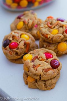 Bite Size Peanut Butter Pretzel MM Cookies by Sallys Baking Addiction #cookies