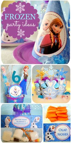 "An amazing blue and purple Frozen girl birthday party with a fun ""Do you want to build a snowman?"" party activity!  See more party ideas at CatchMyParty.com!"