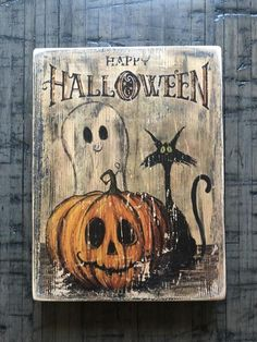 Check out our outdoor halloween selection for the very best in unique or custom, handmade pieces from our shops. Halloween Wood Signs, Halloween Wood Crafts, Vintage Halloween Cards, Rustic Halloween, Halloween Painting, Outdoor Halloween, Diy Halloween Decorations, Cute Halloween, Halloween Pumpkins