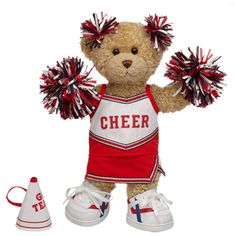 Red Cheerleader Curly Teddy - Build-A-Bear Workshop US $36.00