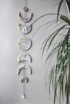 Lunar Decor Moon Phases Wall Hanging Moon Phase Garland Moon Wall Hanging Gold Moon Decor Crystal Wall Decor Gold Moon Cycle Raw Citrine – DIY Pottery – New Epoxy Diy Clay, Clay Crafts, Felt Crafts, Moon Decor, Wall Decor, Mural Wall, Clay Christmas Decorations, Deco Nature, Crystal Wall