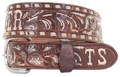 B086SB - Brown Vintage Tooled Belt