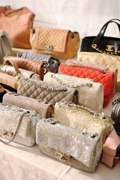 A collection of Chanel bags