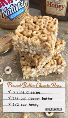 3 Ingredient No Bake Peanut Butter Cheerio Bars - A healthy snack or treat made with honey, peanut butter and Cheerios! A quick and simple kids snack idea. The Lazy Dish Snacks recipes 3 Ingredient Peanut Butter Cheerio Bars - The Lazy Dish Yummy Snacks, Delicious Desserts, Yummy Food, Simple Snack Recipes, Quick Snacks, Amazing Snacks, Simple Snacks, Easy Cookie Recipes, Peanut Butter Cheerio Bars