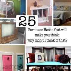 25 Furniture Hacks that will make you think: Why didn't I think of that? #howdoesshe #furnitureupcyle howdoesshe.com