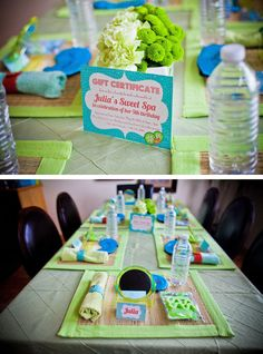 Table setting for spa party {prettymyparty.com}