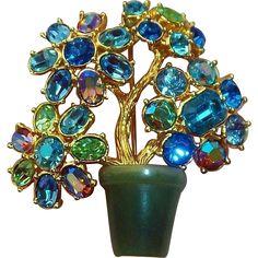 $87 on sale Stunning  Joan Rivers 3-D Flower  Brooch with Blue & Green Crystal Rhinestones