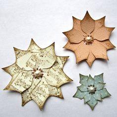Paper Poinsettias Ivory Christmas Decor DIY Handmade