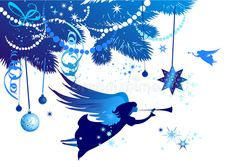 Christmas tree with an angel vector illustration