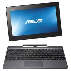 """ASUS Transformer Windows Tablet With Intel Bay Trail Quad-Core Processor -Black This would be a great starter laptop for my daughter I like the idea of the tablet snapping off the keyboard for when I """"must"""" see a creation Application Icon, Windows 8, Black Windows, Camera Icon, Facetime, Screen Protector, Quad, Back To School, Cool Things To Buy"""