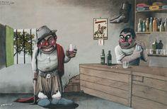 Pintor F.Molina Campos retrato la vida del gaucho Rio Grande, Places To Travel, Joker, Cartoon, Anime, Fictional Characters, Boots, Folklore, Portraits