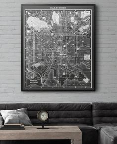 Baltimore Maryland vintage map print from the 1950s. Similar to Restoration Hardware's maps but not affiliated with or produced by them. Many sizing options available at a fraction of the price!