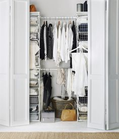 The IKEA ALGOT system has customizable wire storage that can organize what's behind closed doors!love for walk in closet