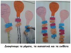 Διακρίνουμε τα ουσιαστικά ,τα ρήματα και τα επίθετα Greek Language, Second Grade, Grammar, Projects To Try, Classroom, Teacher, Education, Learning, Teaching Ideas
