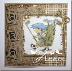 luv the touches of dimensional gold . adorabel vintage boy carrying an enormous golf bag . Lily of the Valley Boy Cards, Kids Cards, Men's Cards, Special Birthday Cards, Birthday Cards For Men, Homemade Birthday Cards, Homemade Cards, Art Pad, Retirement Cards