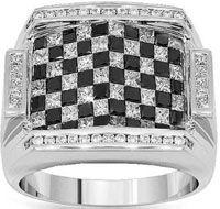 14K White Gold Mens Black Diamond Ring 5.51 Ctw