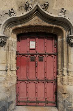 Red Medieval door, Cluny Museum, Paris, France by cocoi_m, via Flickr