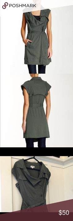 Beautiful Fire Challis Vest Perfect for fall army green challis vest is beautiful! 100% rayon, turquoise style buttons, front pockets, percent layering piece for any season. Color is moss- light army green. No trades  Fire Los Angeles Jackets & Coats Vests