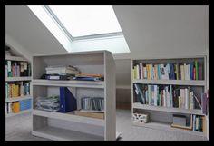 Attic Loft, Loft Room, Attic Rooms, Library Wall, Attic Renovation, Spare Room, Inspired Homes, Bookcase, New Homes