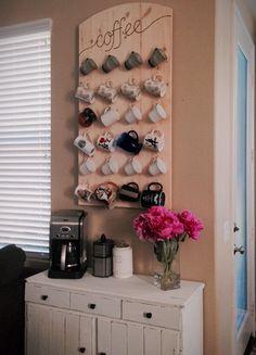 coffee station with wall mounted mug rack