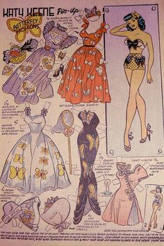 Katy Butterfly Fashions 2 Katy Keene Paper Doll Page From Katy Keene Pin-up Parade #1 1955